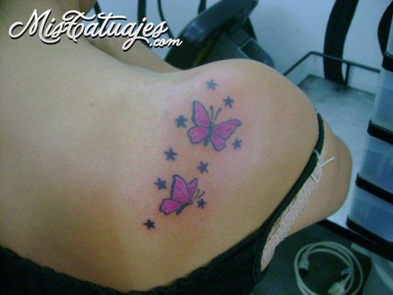 Pink butterflies tattoo designs