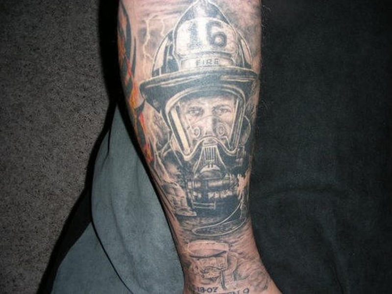 Realistic firefighter tattoo design