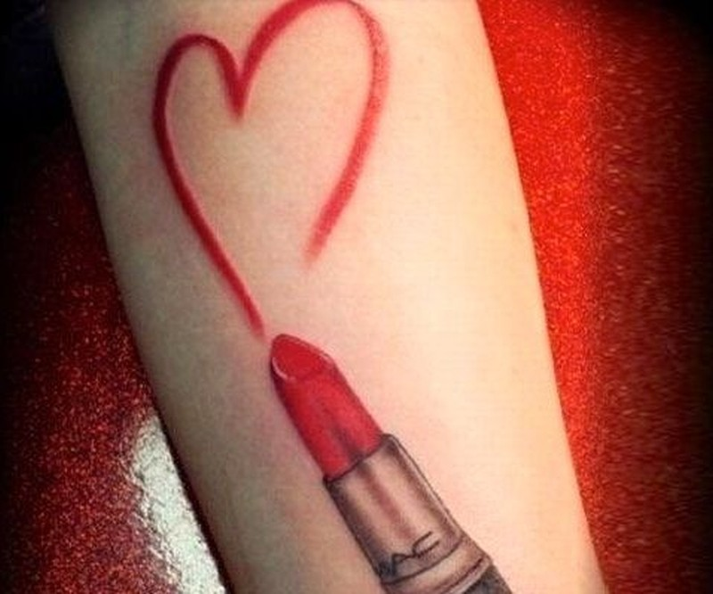 Red heart and lipstick tattoo