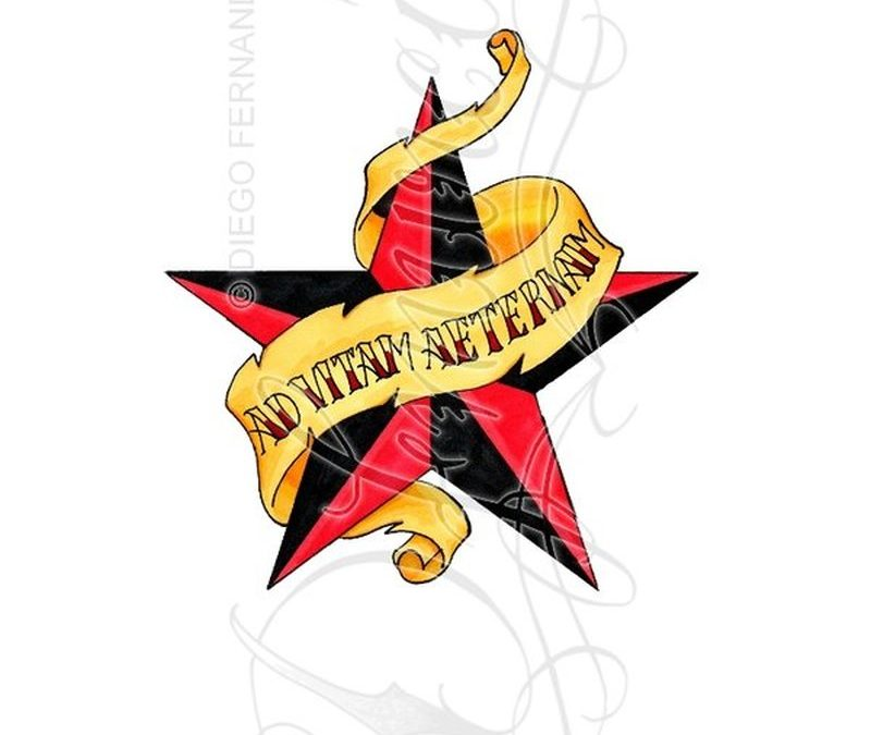Red nautical star yellow banner tattoo design