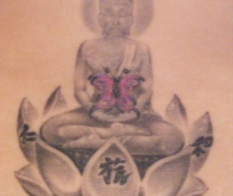 Religious buddha butterfly lotus tattoo design