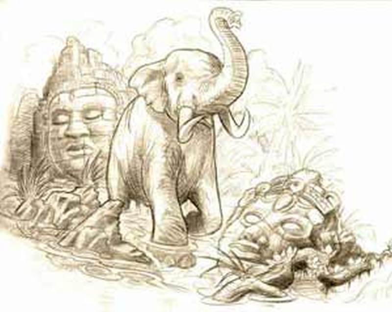 Religious elephant tattoo sketch