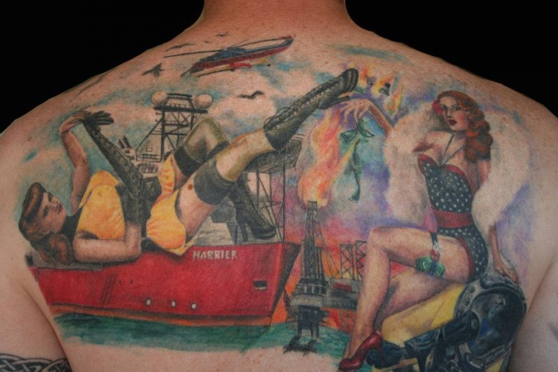 Sailors pin up girl tattoo on back by Amanda West