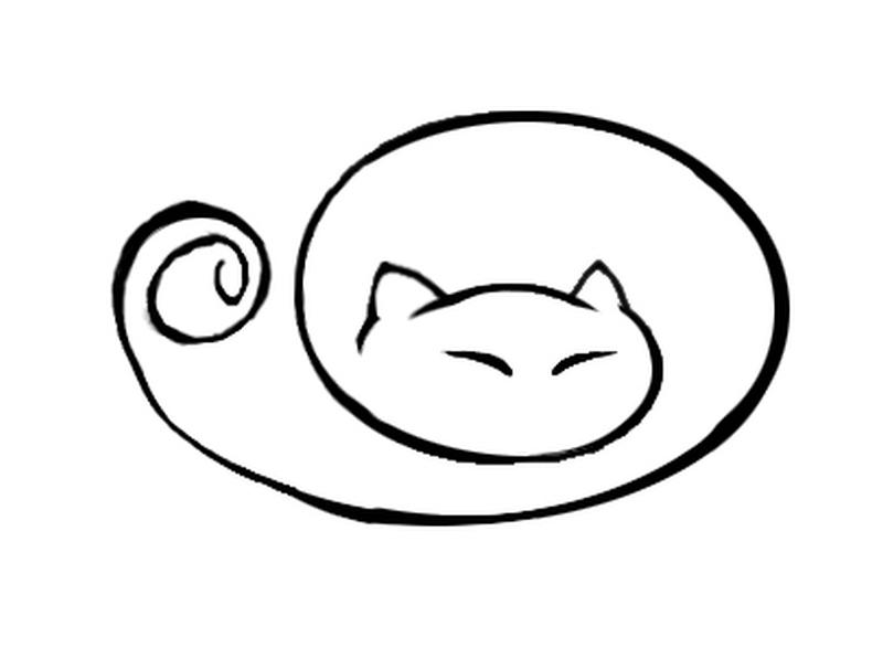 Sleeping cat tattoo design 2