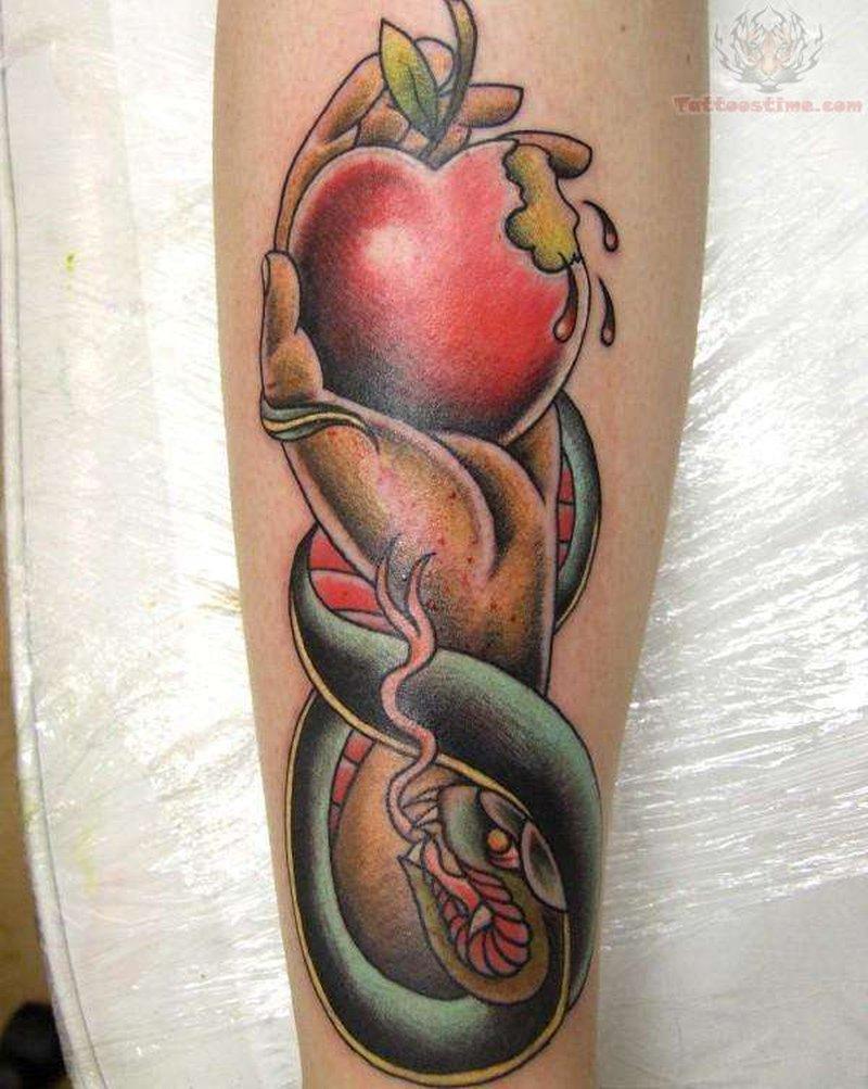 Snake eva apple tattoo