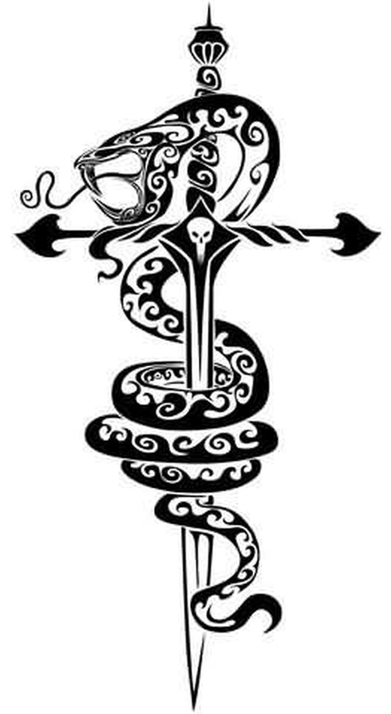 Snake gothic tattoo sample