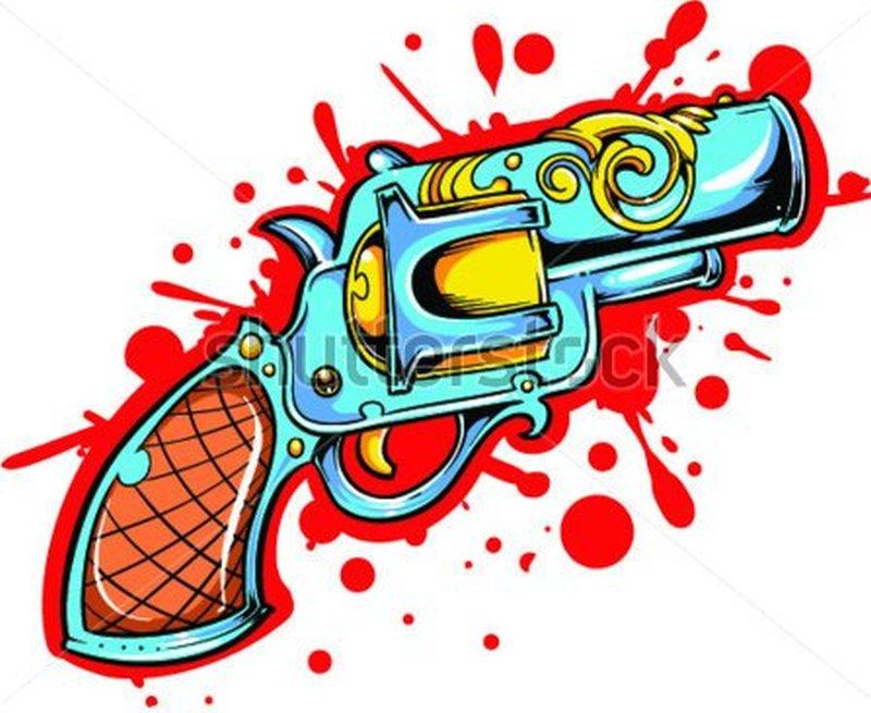 Stock vector gun tattoo design