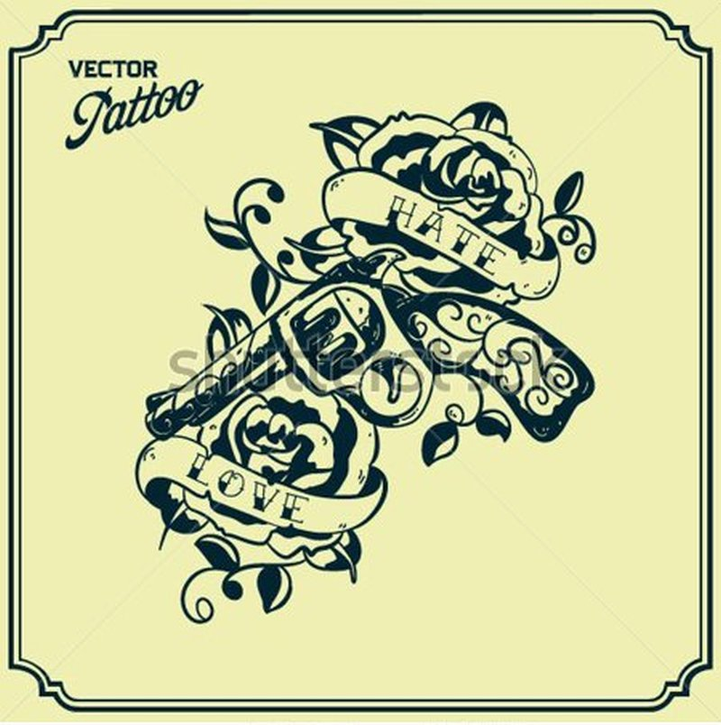 Stock vector retro gun tattoo design