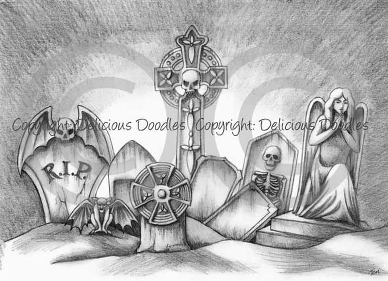 Stoned graveyard tattoo design