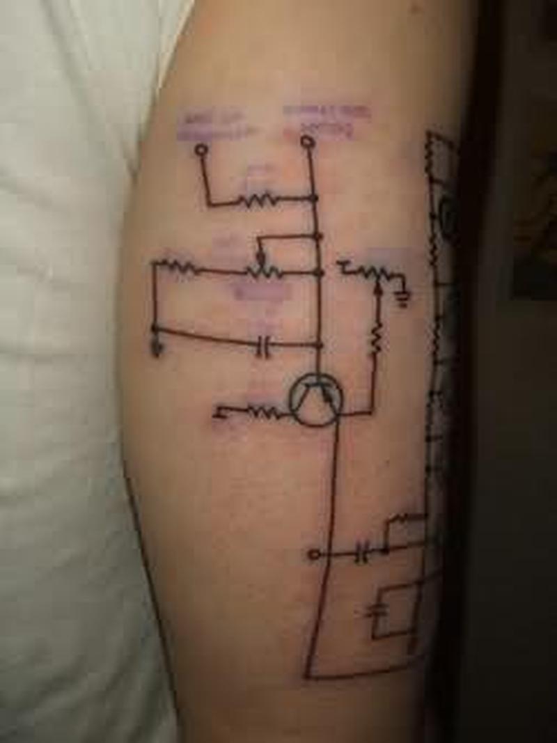 Strange geek tattoo design