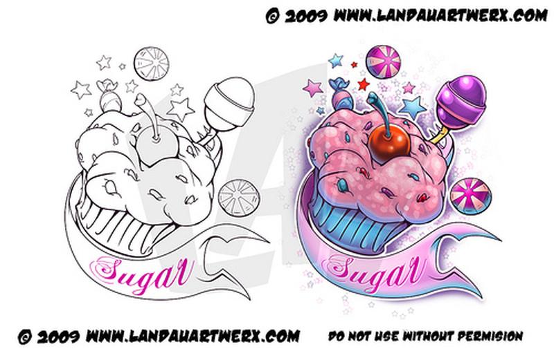 Sugar cup cake tattoo design