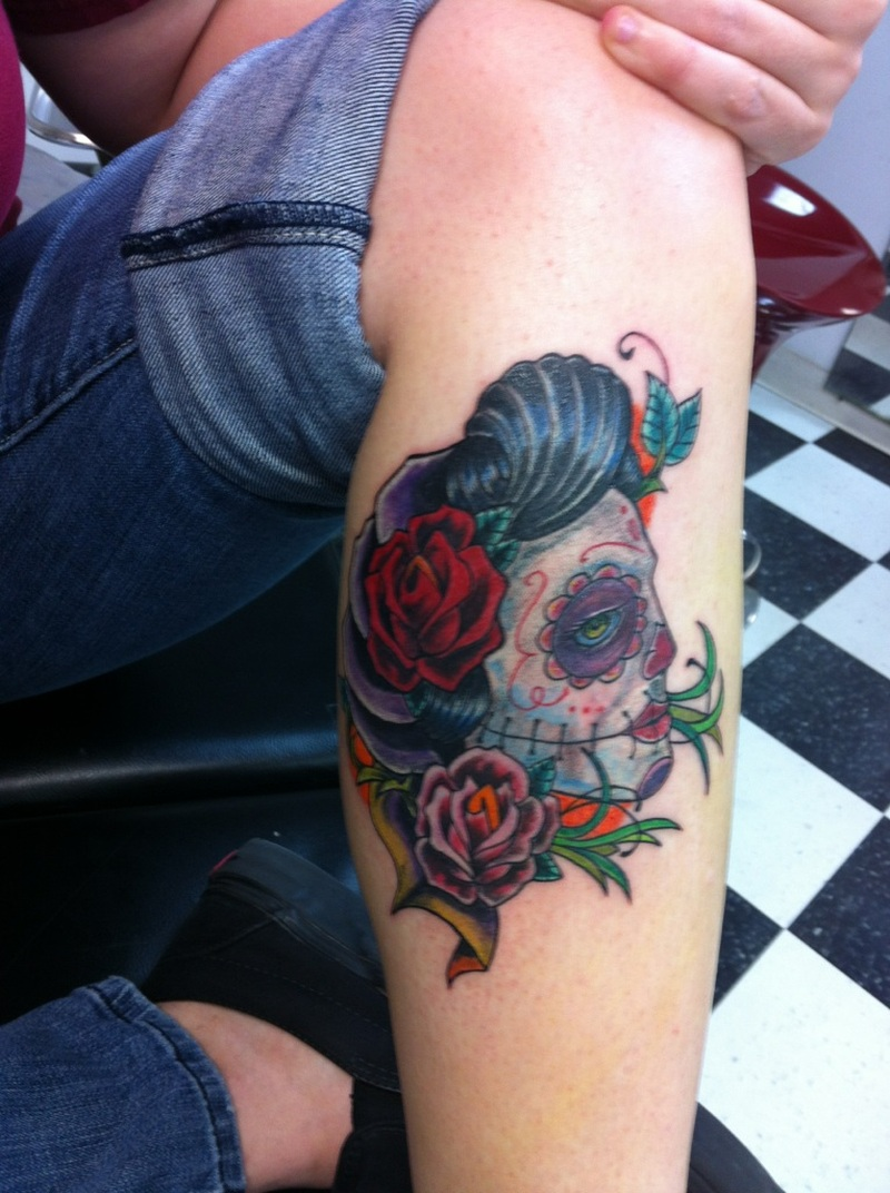 Sugar skull gypsy tattoo on leg - Tattoos Book - 65.000 Tattoos ...