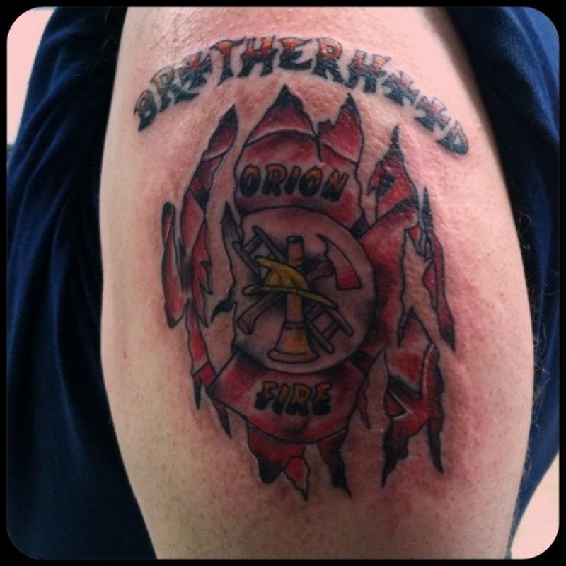 Superb firefighter tattoo design 2