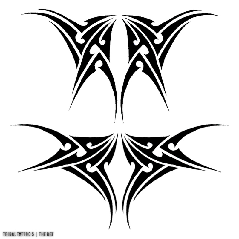 Tattoo design of tribal bats