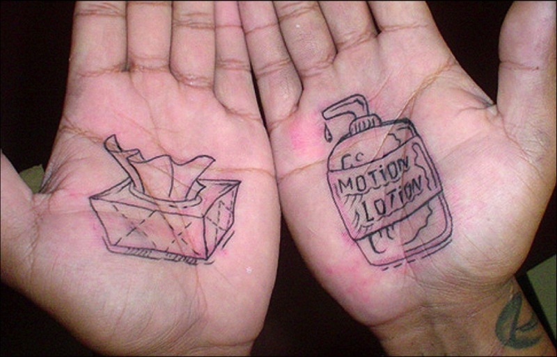 Tattoo designs on palm of hands
