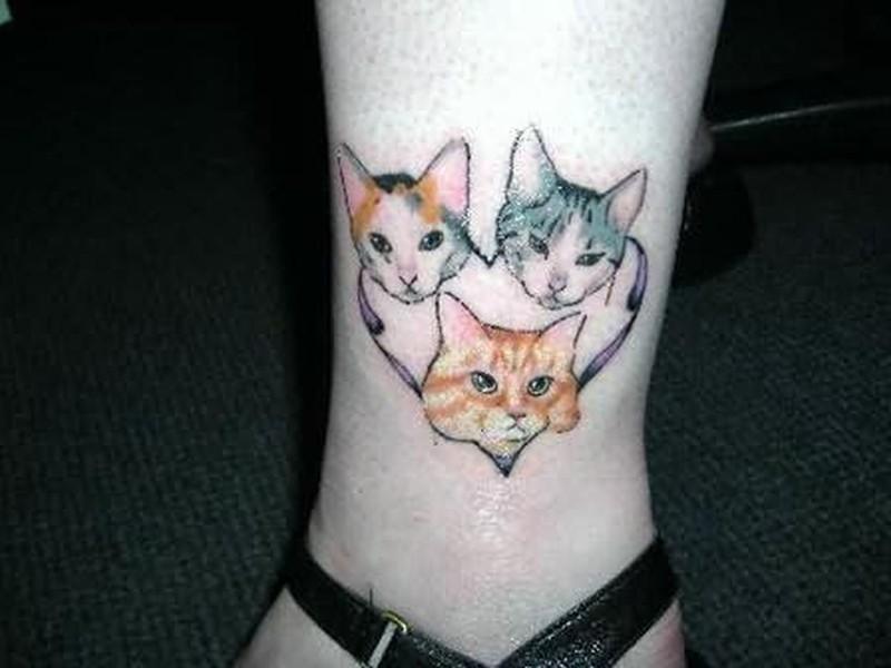 Three cat tattoo design