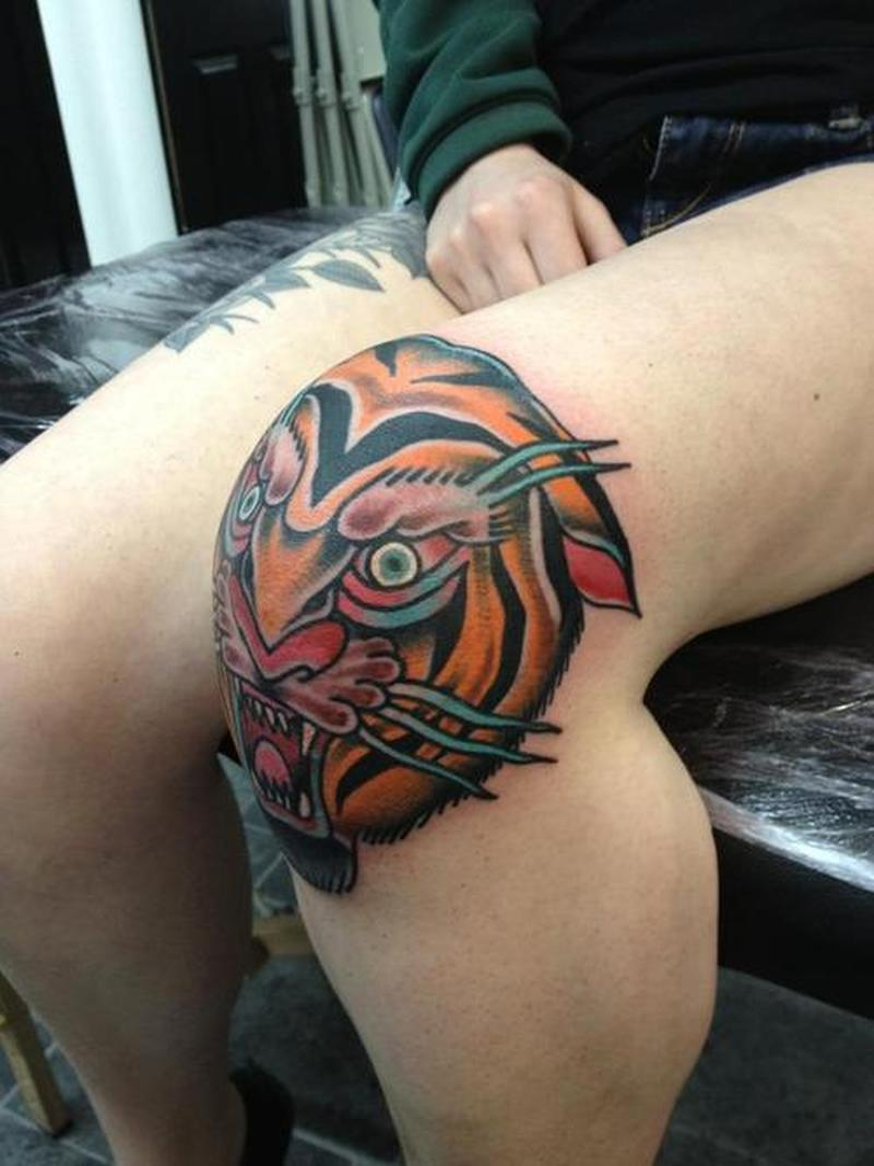 Tiger head knee cap tattoo design