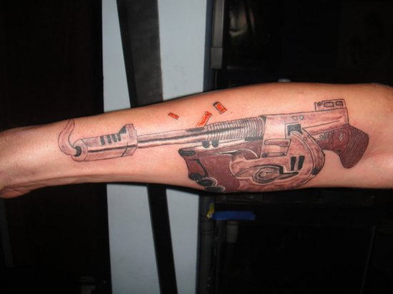 Tommy gun tattoo design