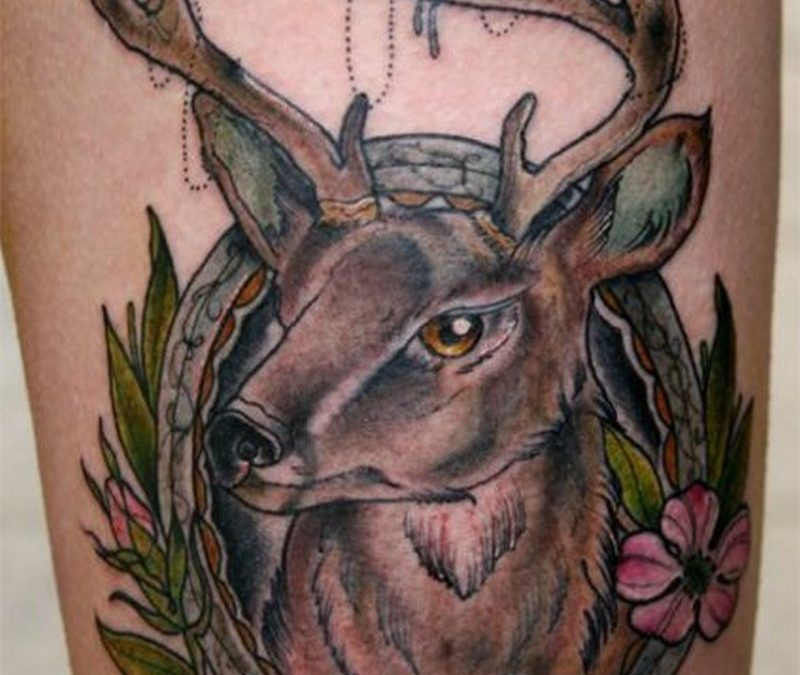 Traditional deer tattoo