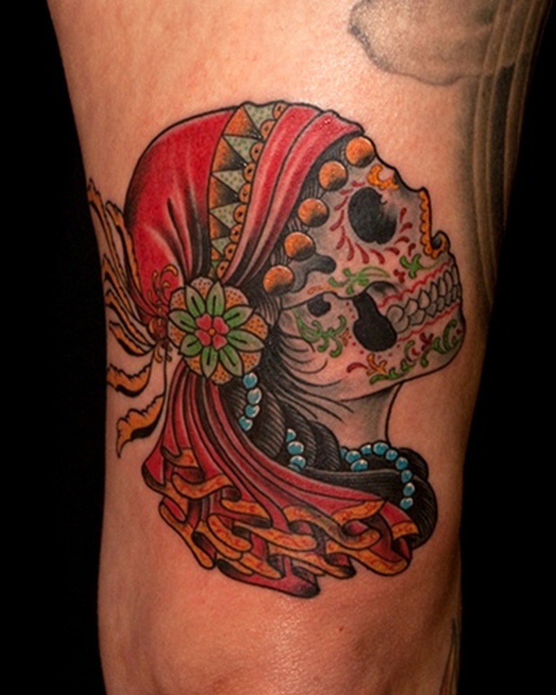 Traditional gypsy sugar skull design tattoo - Tattoos Book ...