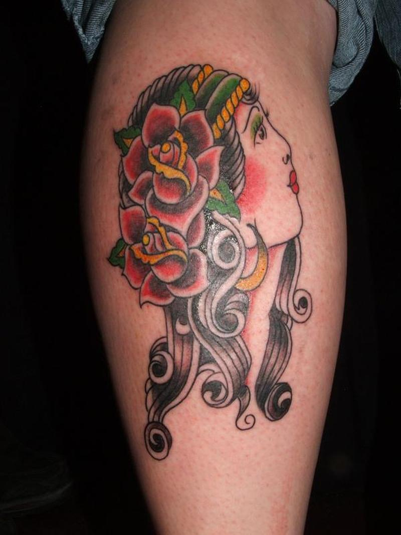 Traditional gypsy woman tattoo design