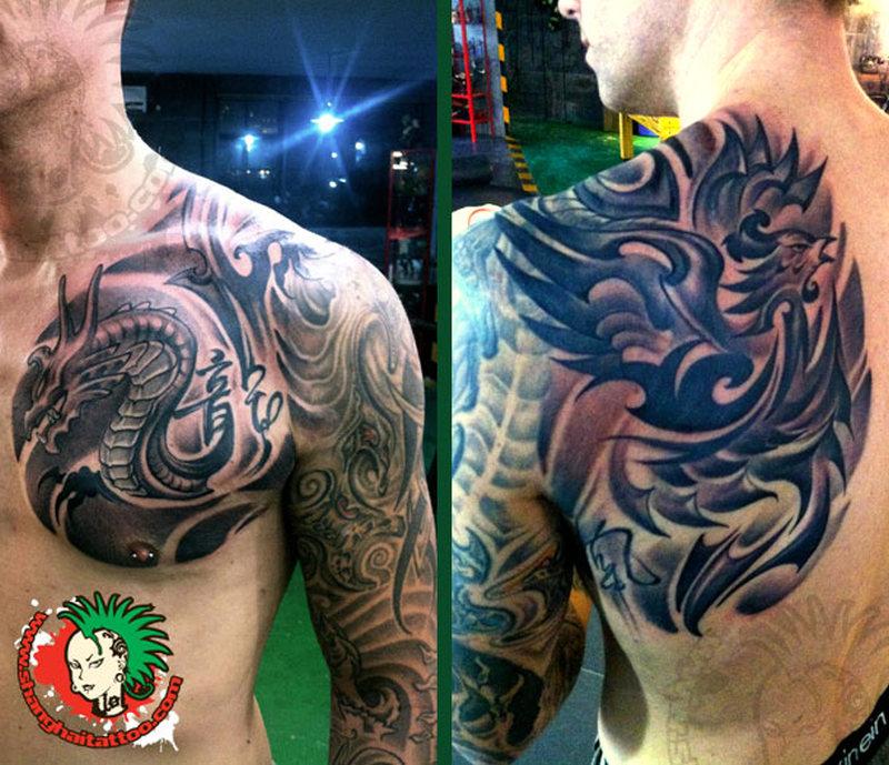 Tribal asian dragon phoenix tattoo