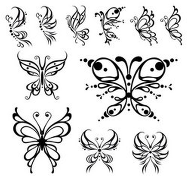 Tribal butterflies tattoo design