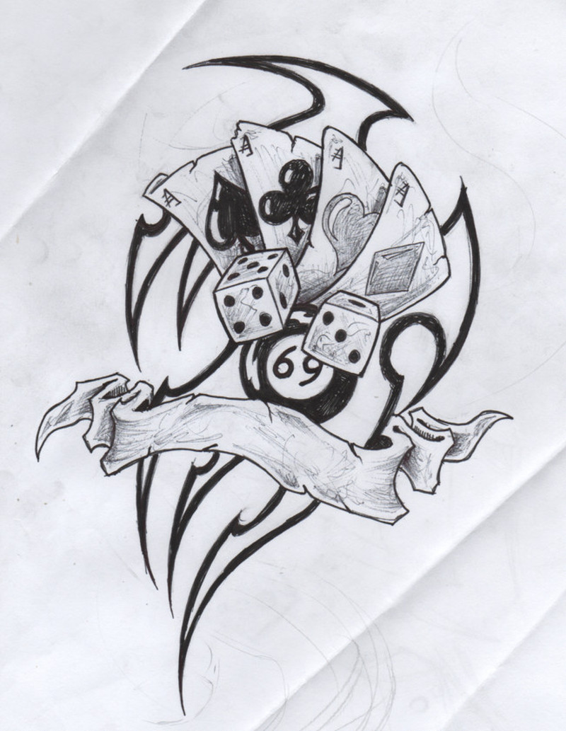 Tribal gambling tattoo drawing
