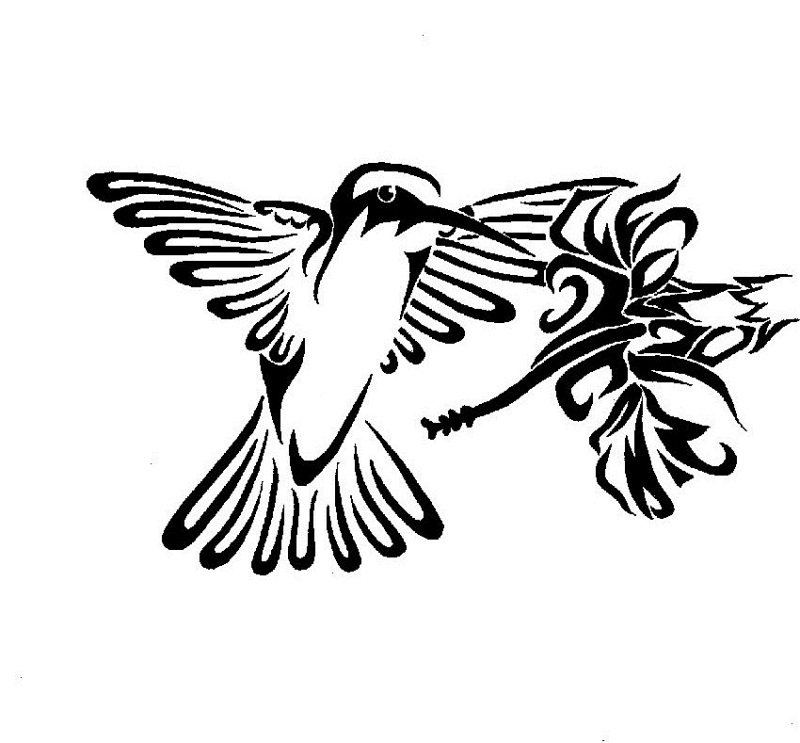 Tribal hummingbird n flower tattoo design 2