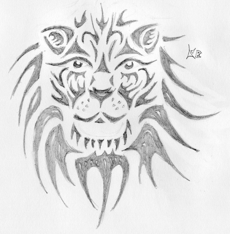 Tribal lion face tattoo drawing