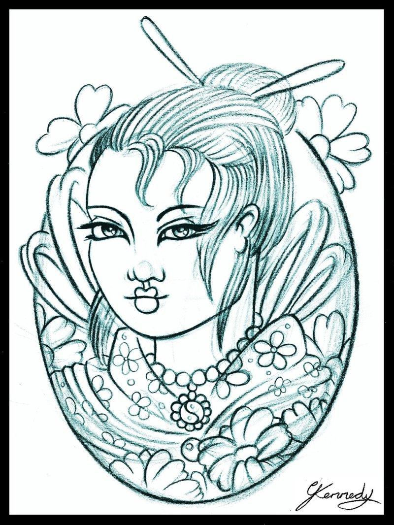 Truly awesome geisha tattoo design