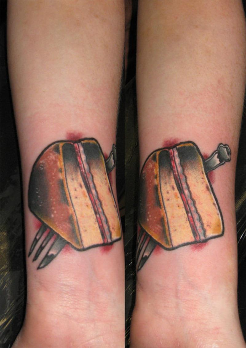 Twin cake piece tattoo design