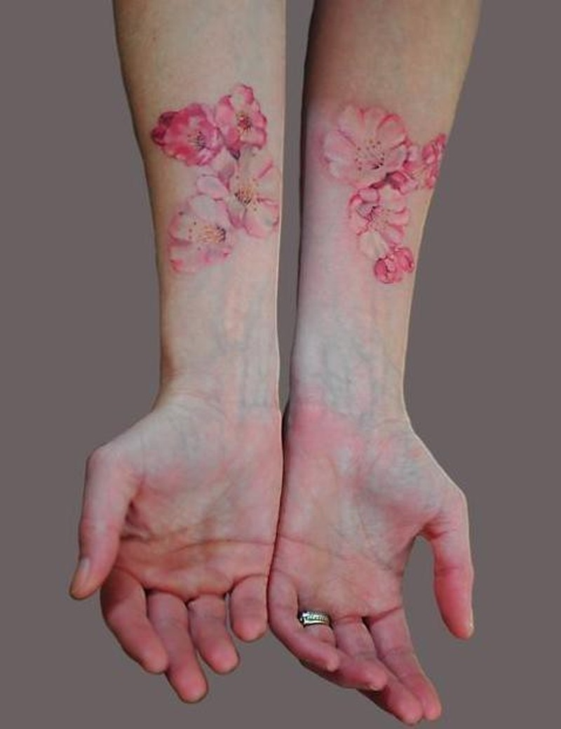 Twin flower tattoo design