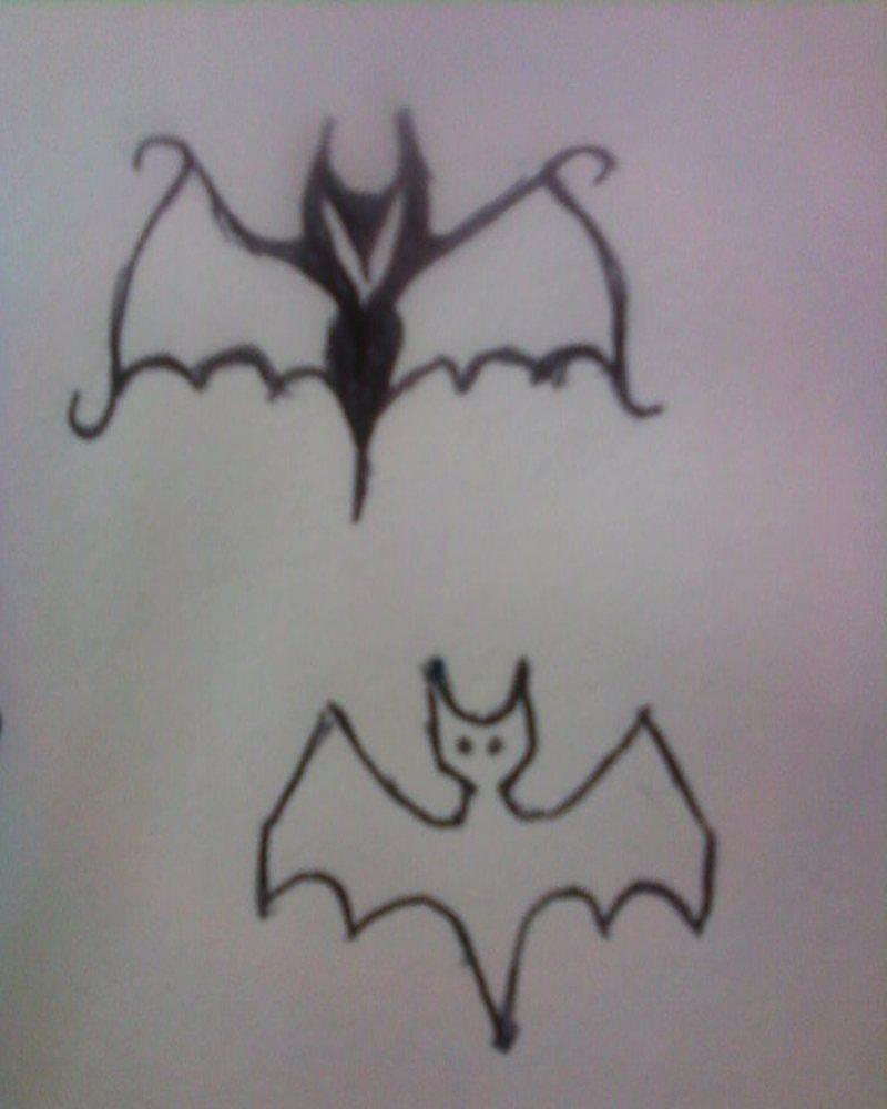 Two amazing bats tattoo design