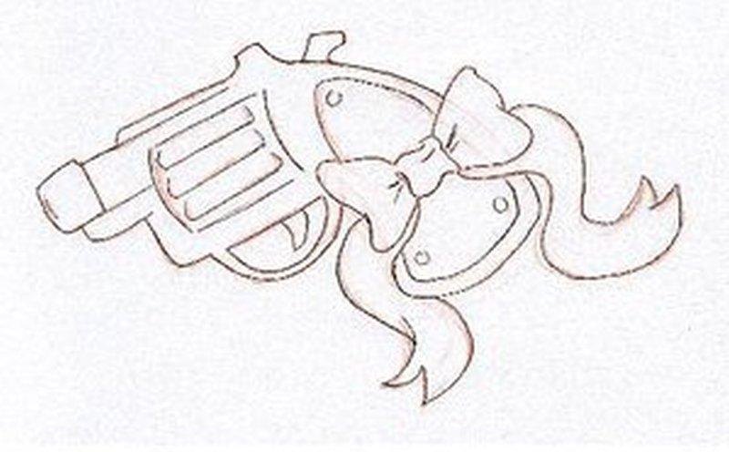 Uncolored bow gun tattoo design