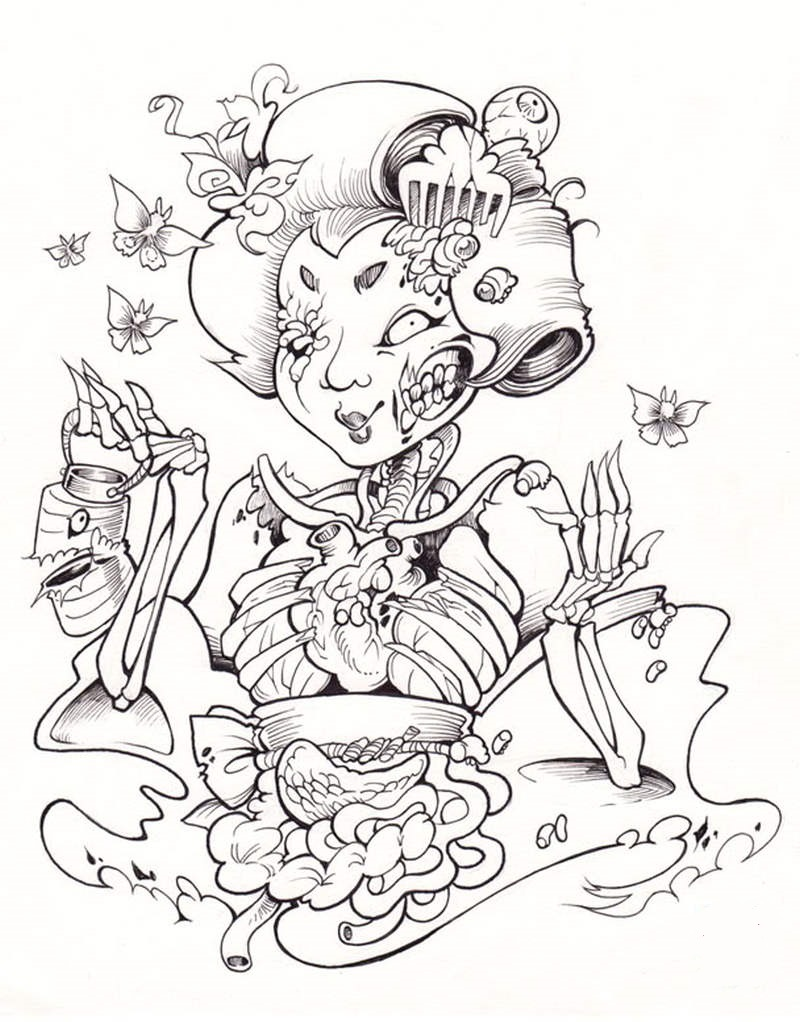 Uncolored zombie geisha tattoo design
