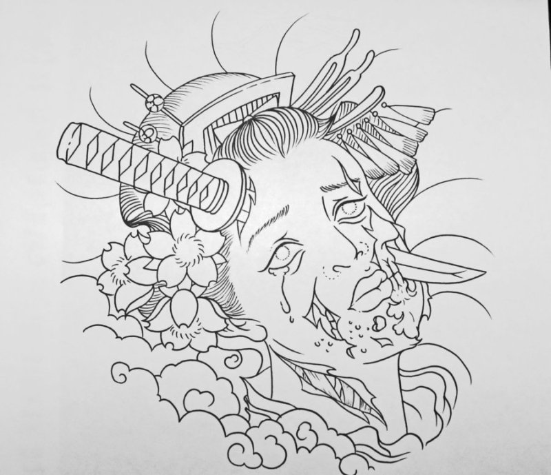 Undead zombie geisha tattoo design