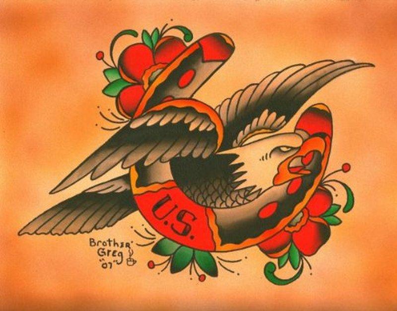 Us horseshoe n eagle design tattoo