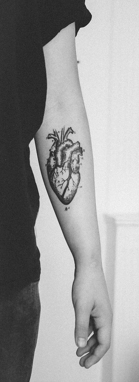Vintage anatomical heart tattoo on forearm