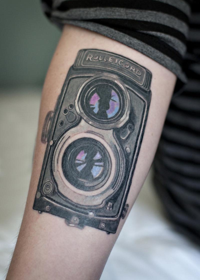 Vintage camera tattoo design 2