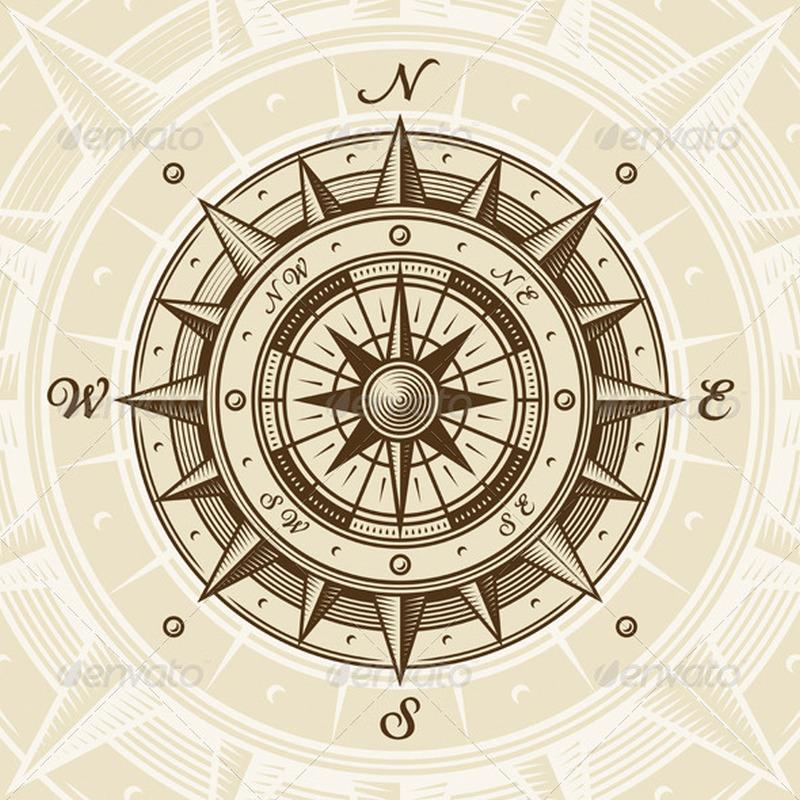 Vintage compass tattoo design