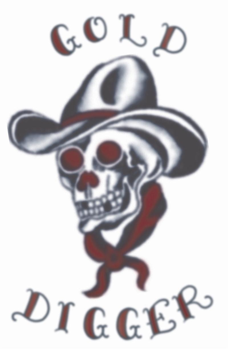 Vintage cowboy skull tattoo sample