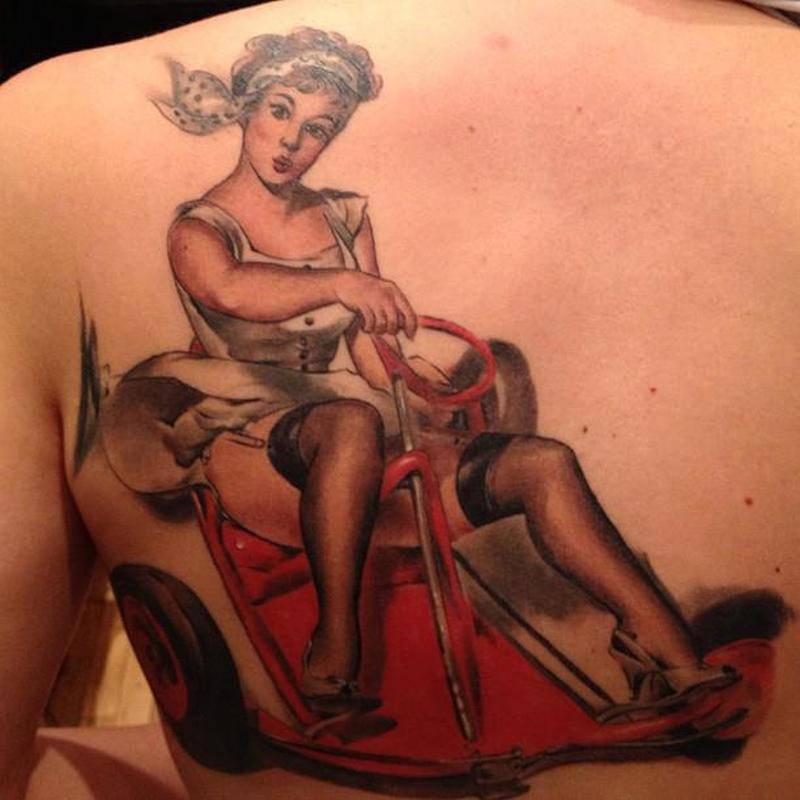 Vintage go kart pin up girl tattoo on back