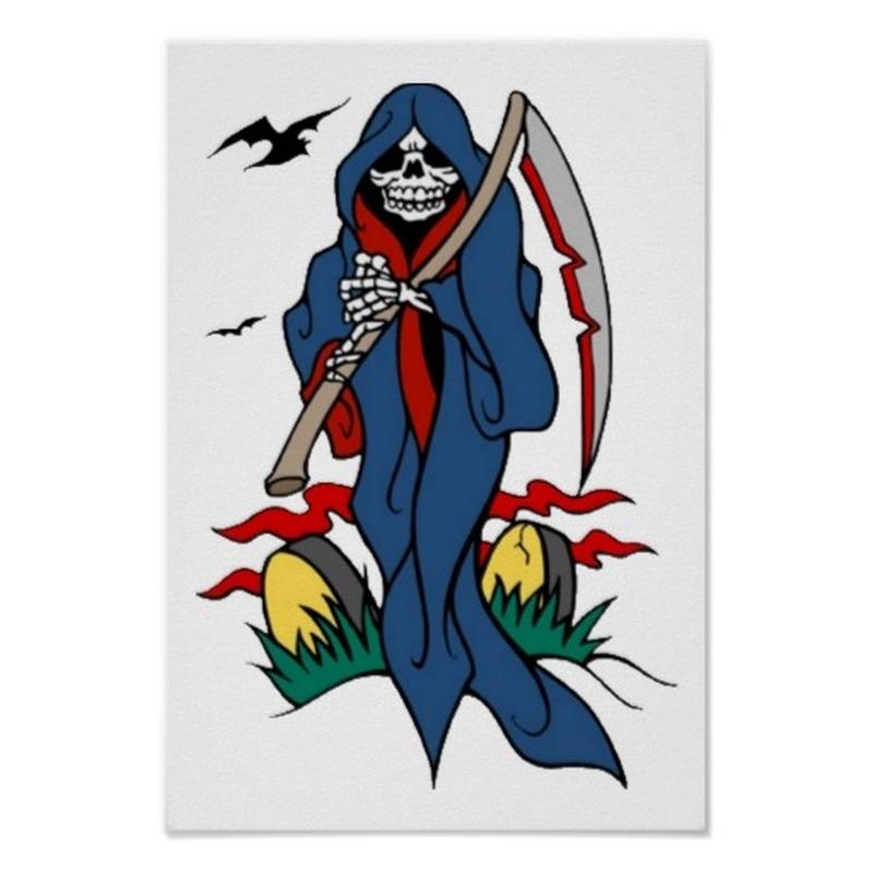 Vintage grim reaper tattoo art print