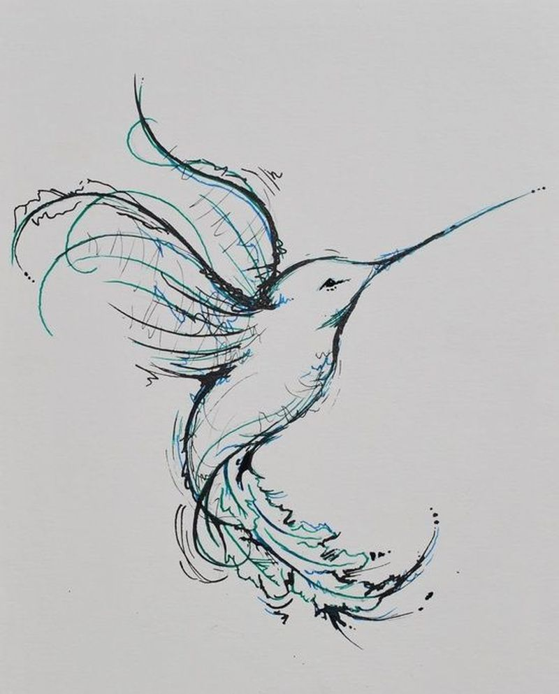 Watercolor hummingbird tattoo graphic