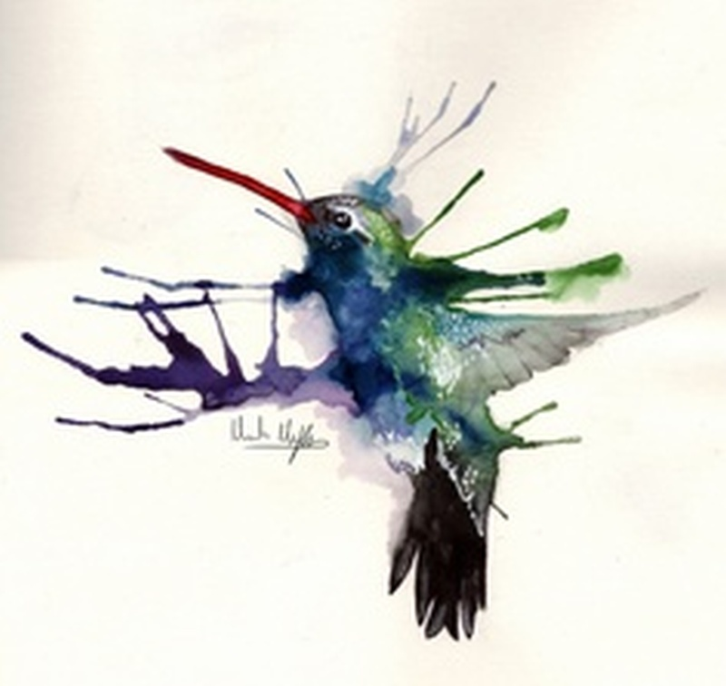 Watercolor hummingbird tattoo sample