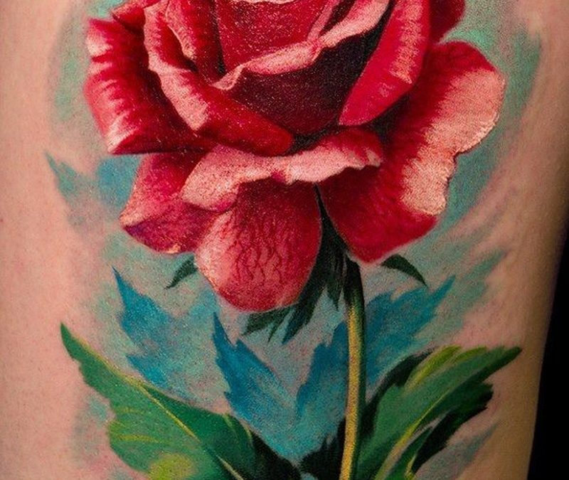 Watercolor rose tattoo by Remis