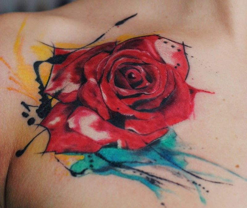Watercolor rose tattoo by dopeindulgence