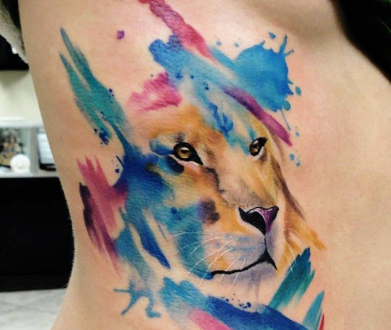 Watercolor tattoo lion