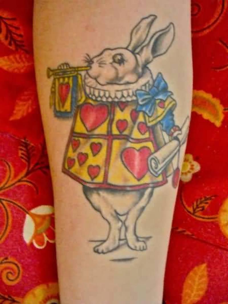 White rabbit alice funny tattoo design